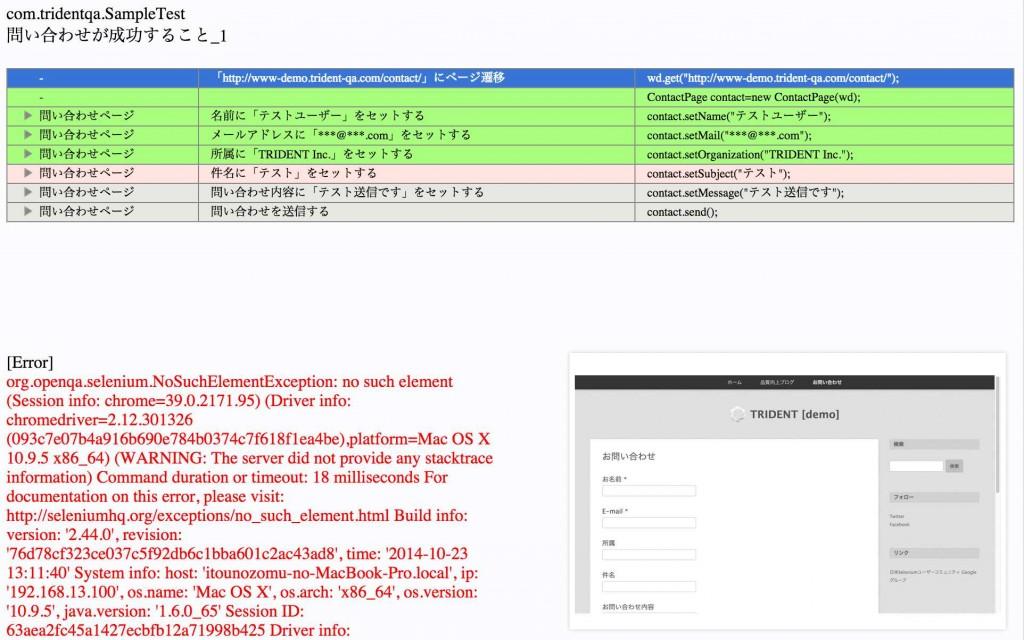 失敗テストのHTMLレポート